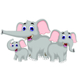funny elephant cartoon family vector image vector image
