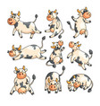 funny spotted cows with different emotions in vector image vector image