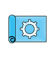 gear wheel on the paper construction work plan vector image vector image