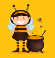 girl dressed up as a little bee vector image