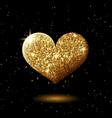 golden glitter shining heart on black abstract vector image
