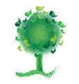 green tree filled with butterflies icon vector image vector image