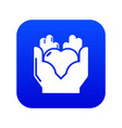 hand heart icon blue vector image vector image