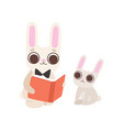 happy family bunnies father rabbit reading vector image vector image