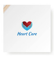 heart love hand care protect logo design vector image