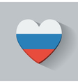 Heart-shaped icon with flag of Russia vector image vector image
