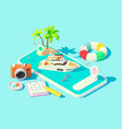 isometric yacht booking app vector image