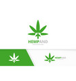 marijuana leaf and hands logo combination vector image