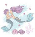 mermaid couple cartoon travel tropical vector image vector image