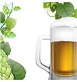 mug of beer with hops branch vector image