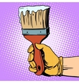 Painting brush in his hand vector image vector image
