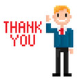 pixel character businessman pixelated graphics vector image