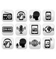 Radio podcast app on smartphone and tablet button vector image vector image