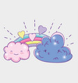 rainbow with kawaii clouds fluffy and hearts vector image vector image