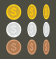set flat cartoon coin icons vector image