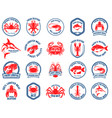 set seafood market emblems design element vector image vector image