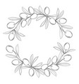 silhouette frame with olive branches vector image vector image
