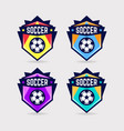 soccer logo or football club sign badge set vector image vector image