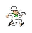 speedy chef running serving pot of food mascot vector image vector image
