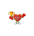 super cool boxing winner love cookies in mascot vector image vector image