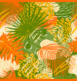 tropical leaves and birds plumage seamless pattern vector image vector image