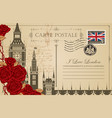 vintage postcard with the big ben in london vector image vector image
