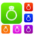 wedding ring set color collection vector image vector image