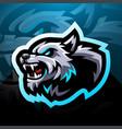 wild wolf head esport mascot logo design vector image