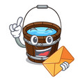 with envelope wooden bucket character cartoon vector image