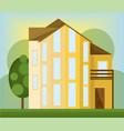 yellow house facade modern architecture vector image vector image