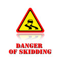 yellow warning danger of skidding icon background vector image vector image