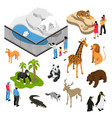 zoo people isometric set vector image