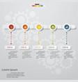 5 steps timeline presentation template vector image vector image