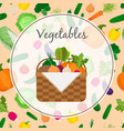 a basket full of fresh vegetables vector image vector image