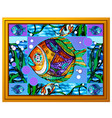 a painting multicolored fish with abstract vector image