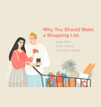 a young couple shopping on a list vector image vector image