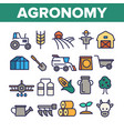 agronomy industry thin line icons set