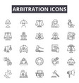 arbitration line icons signs set outline vector image vector image