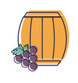 barrel of wine with grape icon vector image vector image