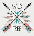 beautiful hand drawn with crossed ethnic arrows vector image vector image