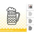 beer mug simple black line icon bar ware vector image vector image