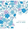blue and pink kimono blossoms frame corner vector image
