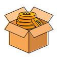 box carton with bitcoin isolated icon vector image vector image