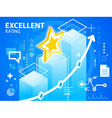 bright excellent rating of star on blue back vector image vector image