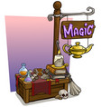 cartoon magic vendor booth market wooden stand vector image vector image