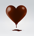 Chocolate dripping hot heart vector image