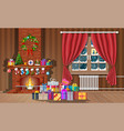 christmas interior room vector image vector image