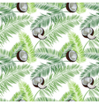 Coconut palm leaves seamless pattern on white vector image vector image
