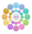 colorful round calendar 2019 design print vector image vector image