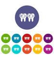 dental brace icons set color vector image vector image